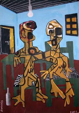 """Saatchi Art Artist dimitris p; Painting, """"portrait-alcoholics"""" #art"""