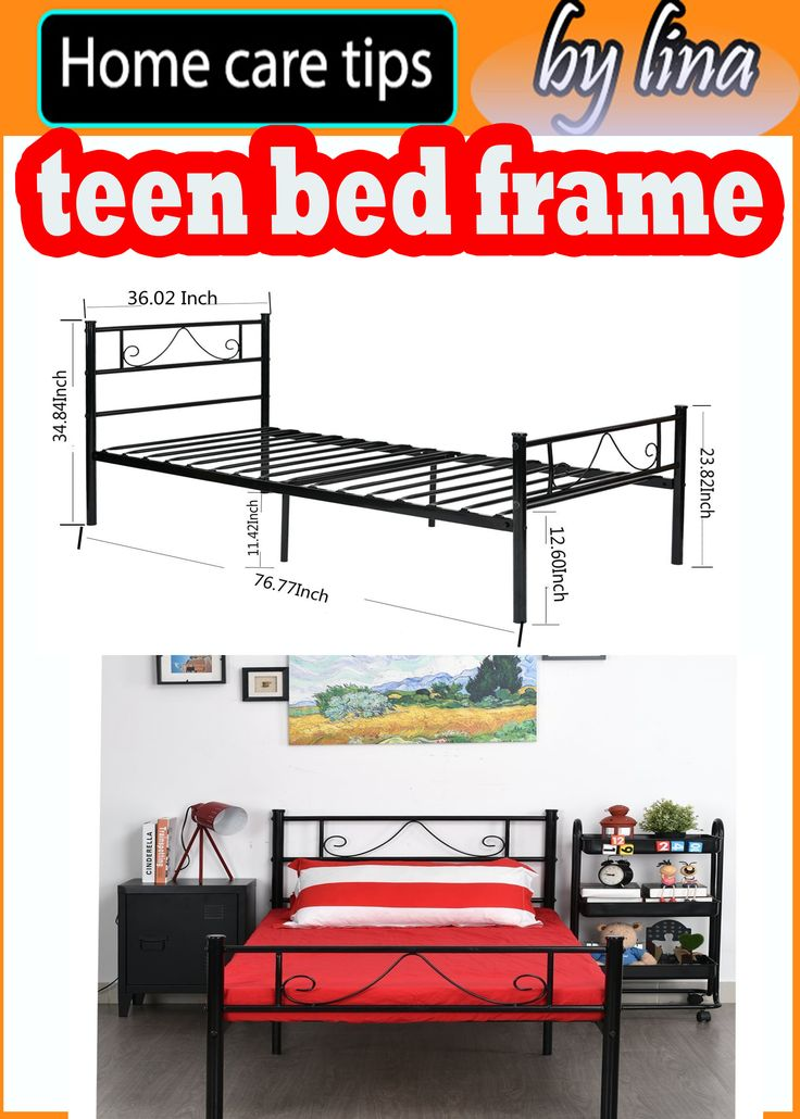 Twin Distressed Bed Frame Metal Platform With Stable Metal