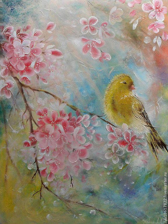 Купить Сакура Картина маслом.Весна.Сакура.Птицы.Живопись по дереву. - сакура, цветение сакуры