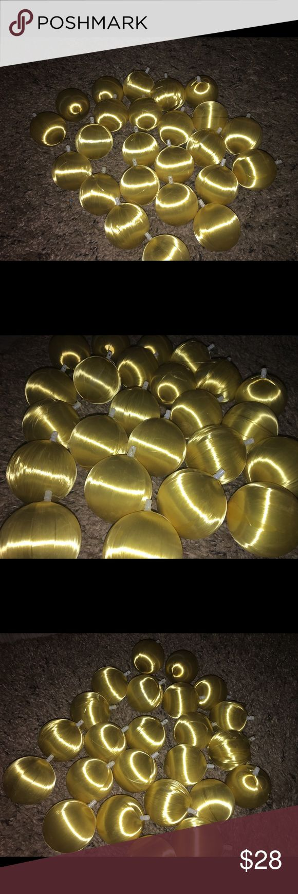 Set of 24 vintage gold yellow xmas ornaments Thank you for viewing my listing, for sale is General foam plastics Corp brand, set of 24, jumbo, yellow / gold Christmas ball ornaments. These are the vintage ones that are silk/satin balls. They come in the original box.  Overall they are in good condition, however there is some of them that are starting to come unraveled. I did my best to clean them up. Each ball measures approximately 8 inches in circumference general plastics corp Accessories
