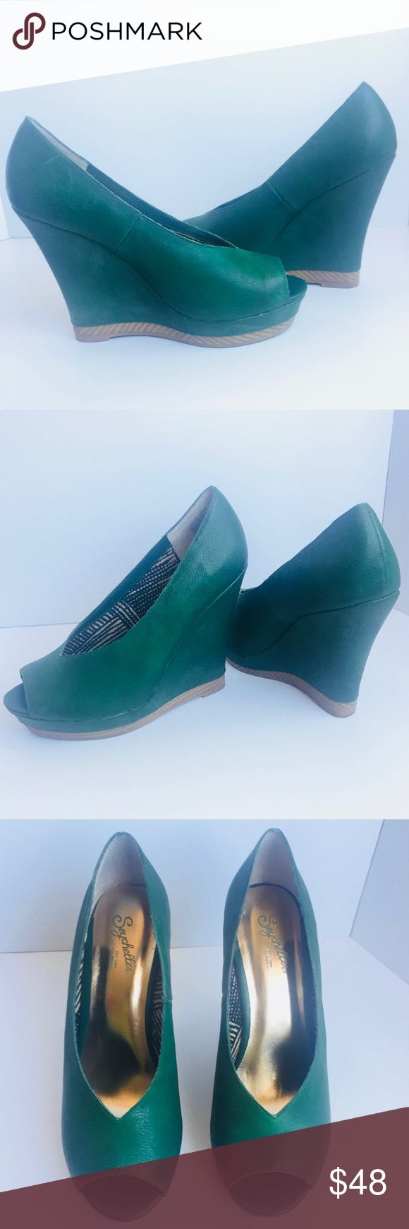 ✨SUNDAY SALE✨Seychelles Green Wedge with Peep Toe Seychelles Green Wedge with Peep Toe.  Extremely comfortable for long term wear.  Excellent condition and worn one time.  Heel height 4-inches with 1-inch platform. Seychelles Shoes Wedges