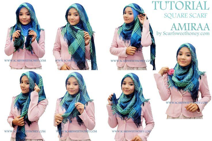 Hijab Tutorial ~ Scarf Sweethoney - Square Scarf AMIRAA Style 2