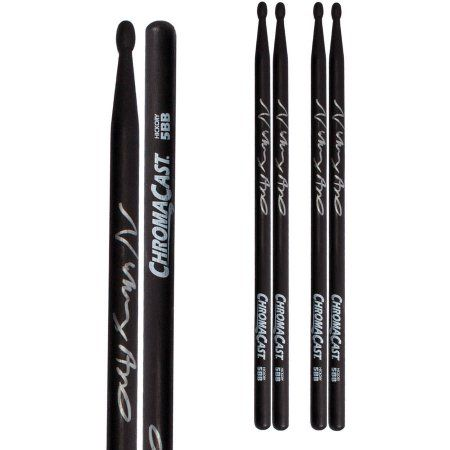 ChromaCast Vinny Appice 5BB Signed Black USA Hickory Drumsticks, 3 Pair