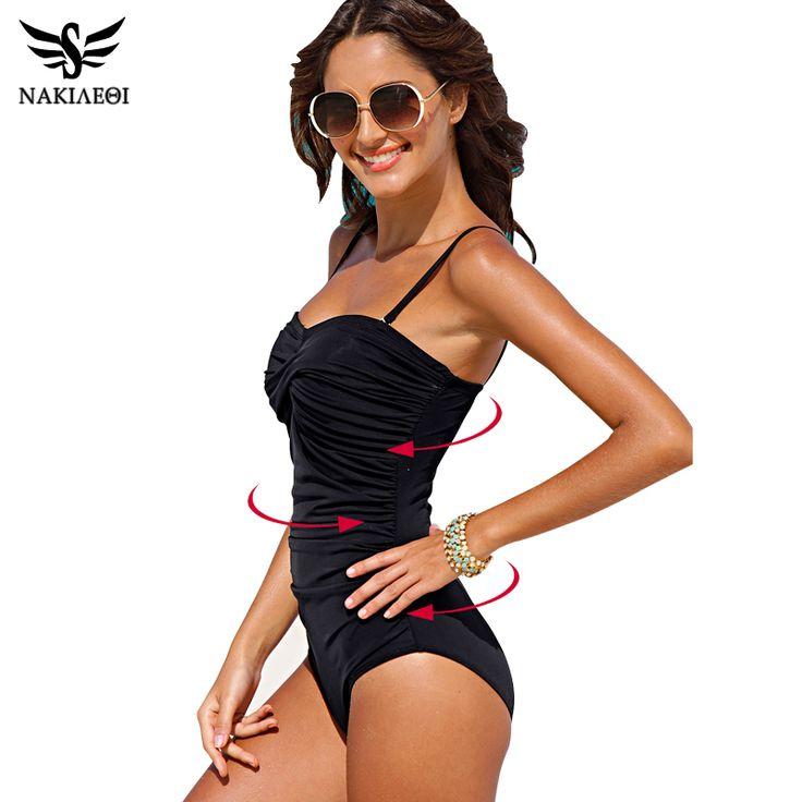 NAKIAEOI One Piece Swimsuit 2017 New Plus Size Swimwear Women Print Solid Swimwear Vintage Retro Bathing Suits Monokini Swimsuit