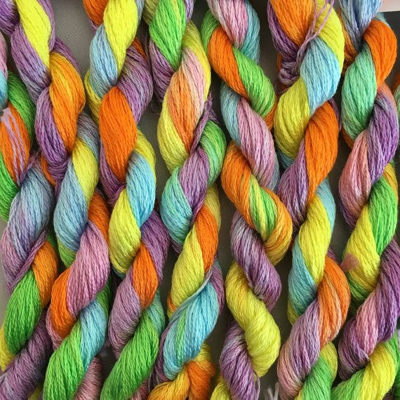 This is my hand dyed thread in the colourway Gentle Riot on 9m DMC six stranded floss for cross stitch or embroidery, or other needlework. My most