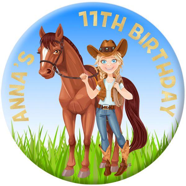 Horse / Pony Personalised Birthday Party Badge #922