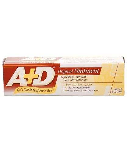 Vitamin A&D Original Ointment Tube for Diaper Rash & All-Purpose Skincare Formula - 4 Oz by A + D. Save 10 Off!. $5.99. A+D Original Ointment is specially formulated with two active ingredients: Petrolatum and Lanolin. Together, they form a protective barrier to help seal out irritating wetness and allow skin to heal naturally. A+D Original Ointment should be used at every diaper change to prevent diaper rash, especially at bedtime when exposure to wet diapers may be prolonged.