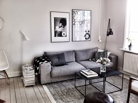 Esprit scandinave, canapé gris | Scandinavian feeling, Grey sofa # living room