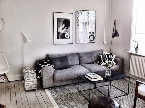 Sala pequena + preto & cinza