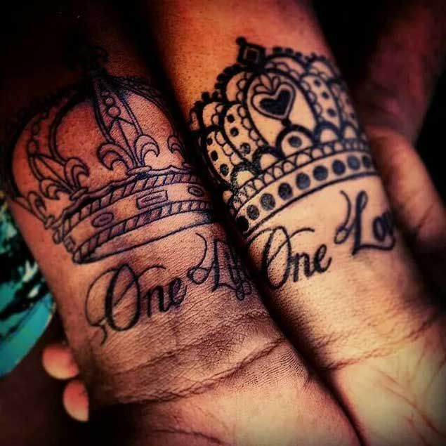 Cool King and Queen Couple Tattoos