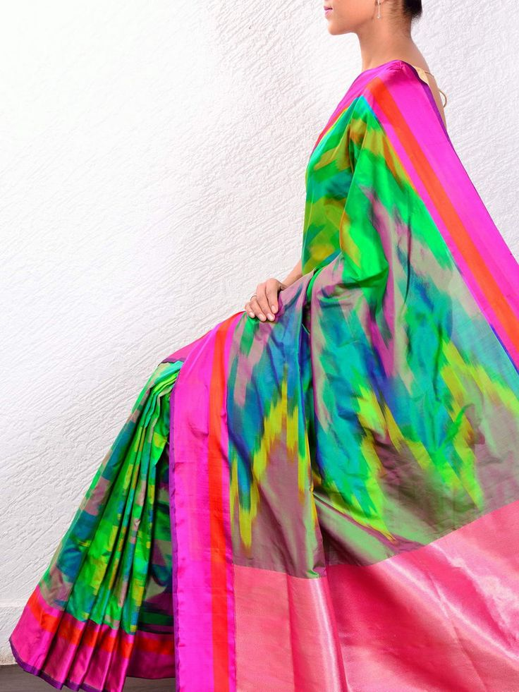 ~ #Rainbow Ikat #Saree @ @holyweaves ~