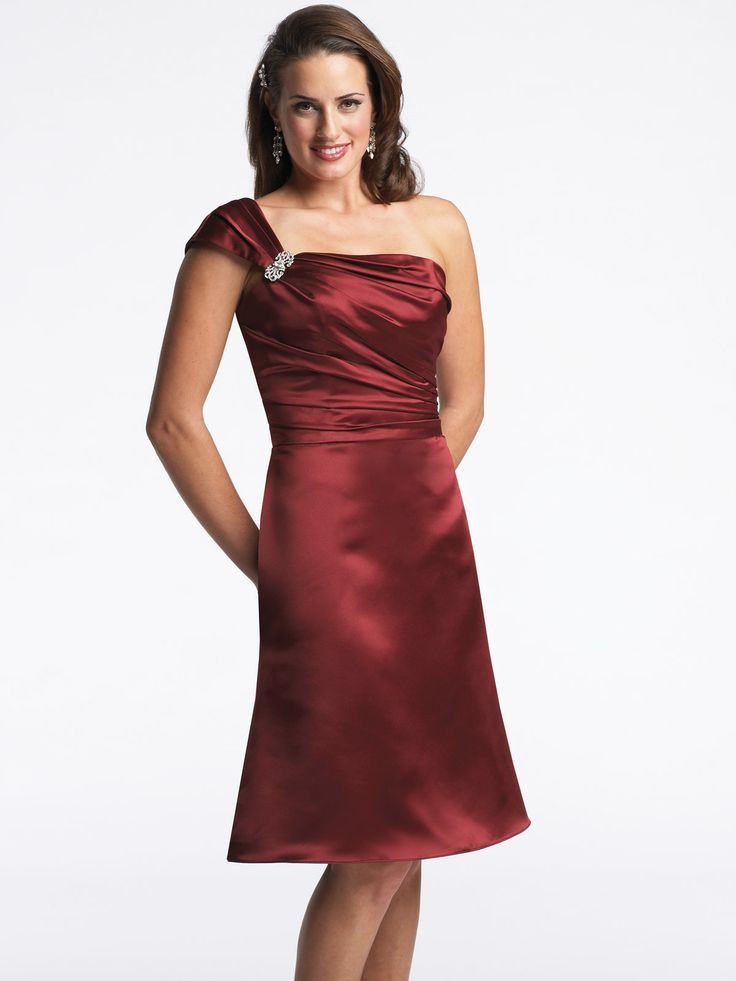 One shoulder trumpet/mermaid satin bridesmaid gown