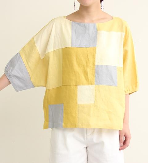 Linen patchwork blouse