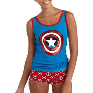 Captain America Tank and Hipster Panty Set. Personally I prefer V neck T shirts to tanks but Cute sleep wear.
