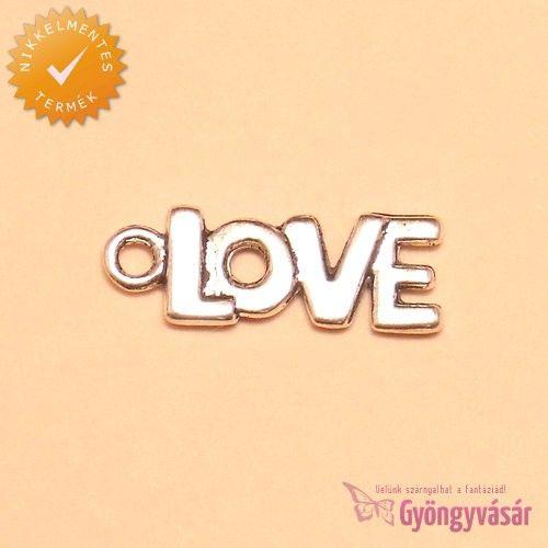 Ezüstszínű Love felirat - nikkelmentes fém zsuzsu / fityegő • Gyöngyvásár.hu