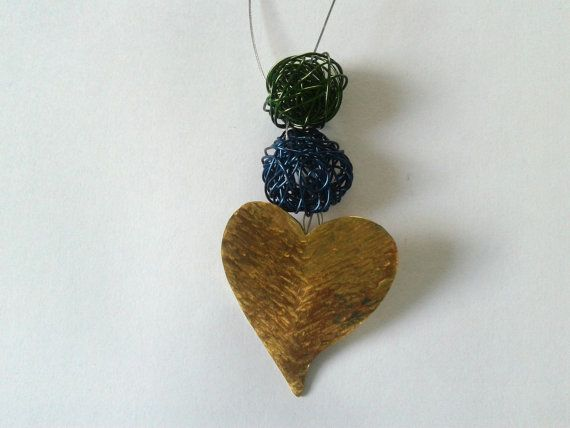 Handmade hammered bronze heart pendant with wire beads in green and blue