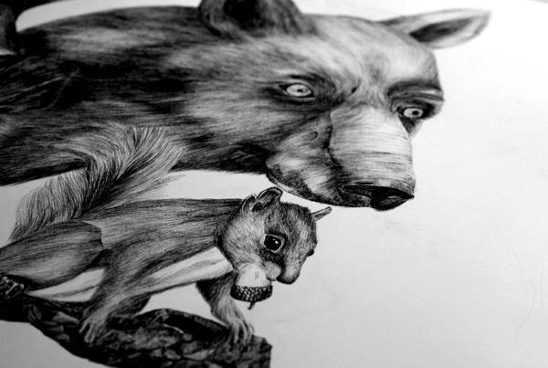 illustration, bear, squirrel, realistic, animals, forest, #ElementEdenArtSearch