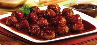 1 bag Mama Rosa's Frozen meat balls and a bottle of Original Bullseye BBQ sauce place both in a crockpot heat and serve ... Supper easy and always the 1st to go at a party ;-)