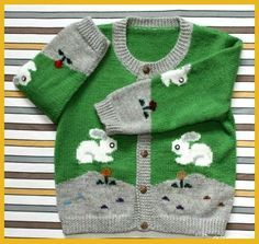 Delicadezas en crochet Gabriela: Esquemas de diseño de animalitos para buzo de niños en dos agujas