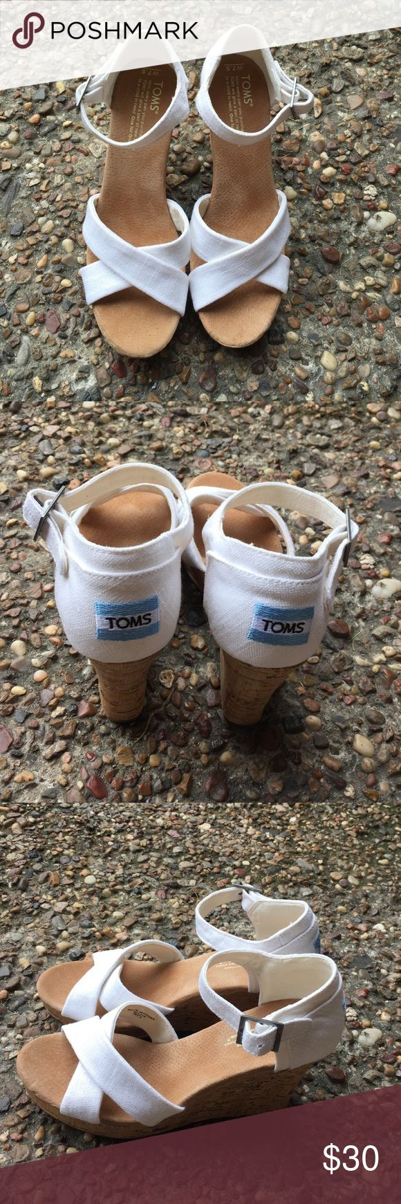 Toms wedges Toms strappy wedges sandals white good condition  used two times only super clean TOMS Shoes Wedges