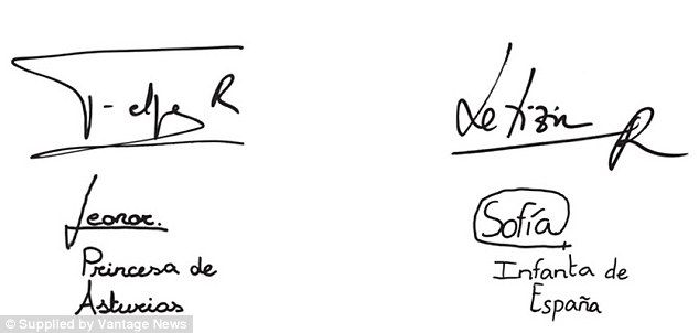 Signatures: The Spanish royal family all signed their names: While Leonor appears to have followed her father's long line style, little Sofia has gone for a more unique circle design