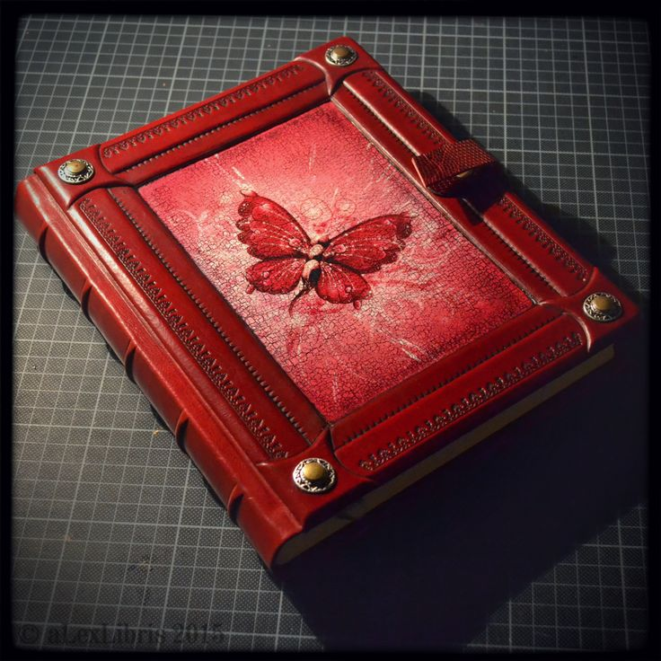 One more completed custom order... leather journal in 8 x 10 inches size, strong parchment paper, personalization, etc.  #leatherjournal #bookart #handmade #redleather #butterfly