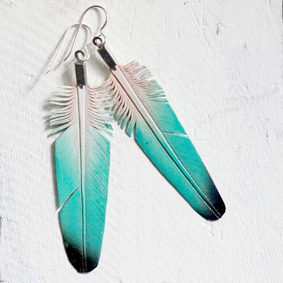 hand painted leather feather earrings - evening swim