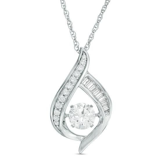 Zales Unstoppable Love 6.0mm Lab-Created Ruby and White Sapphire Oval Pendant in Sterling Silver 1CCwY