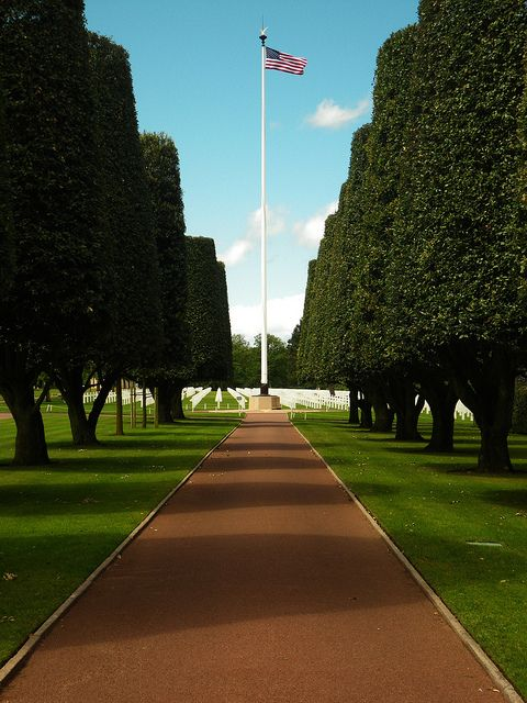 American WWII cemetery memorial Omaha Beach Normandy France. It is a beautiful & solemn remembrance of the many that lost their lives for liberty.    If ever in France, go.