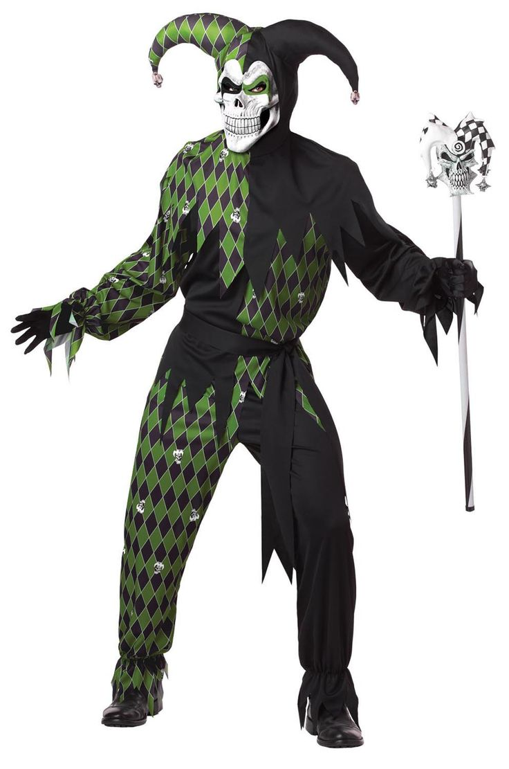 Jokes On You Green & Black Evil Jester Costume Adult