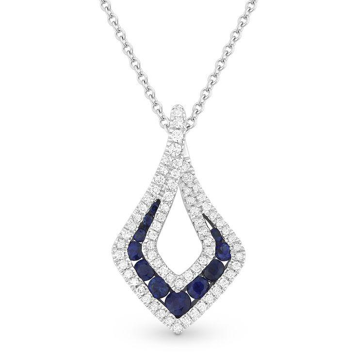 0.54ct Round Brilliant Sapphire & Diamond Pave Tear-Drop Pendant & Chain Necklace in 14k White Gold - AlfredAndVincent.com