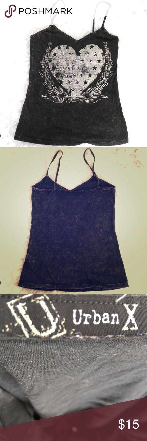 "Women's Tank Cami Women's Tank Cami Top  Size Small  URBAN X  Black Gray  Stonewashed  Heart Stars Embellished Armpit to Armpit - 30""   Shoulder to Hem - 25.5"" Hem Circumference - 32"" Urban X Tops Camisoles"