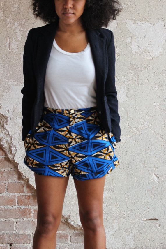 African wax print high waist blue shorts with by ALeapOfStyle