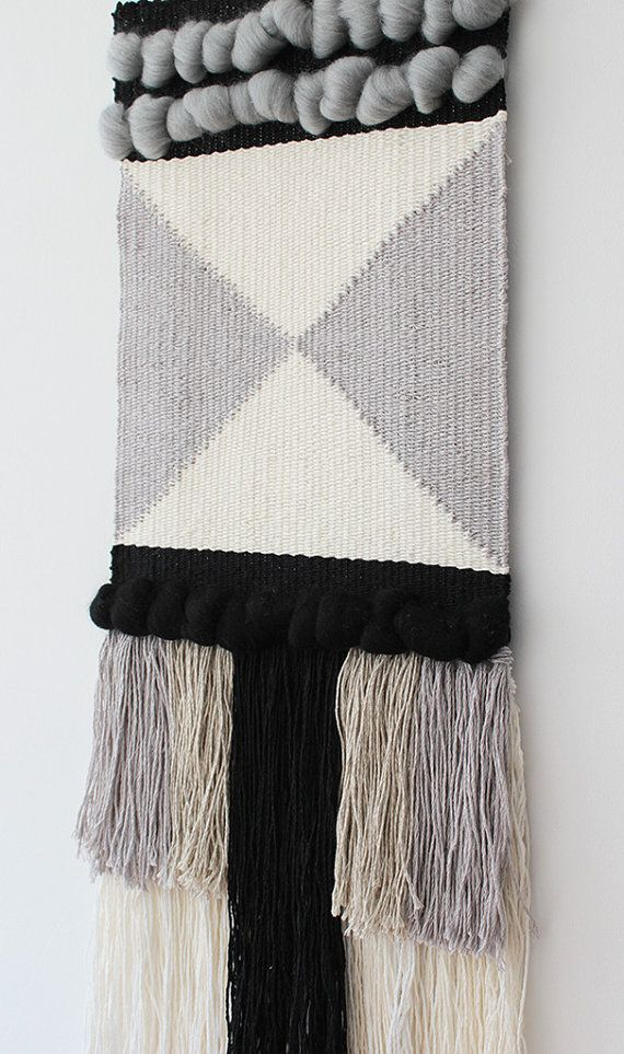 Woven wall hanging   Wall tapestry   Wall decor   Home decor   Wall weaving ivory, grey, black   Fiber art  This woven wall hanging is a true eye