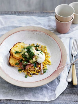 Poached egg with cornbread, corn and bacon hash and green tomato relish  I may have had a less glamorous version for tea tonight....Breakfast Brunches, Corn Bacon, Appetite Food, Appetit Food, Bacon Hash, Poached Eggs, Corn Hash, Corn Breads, Green Tomatoes Relish