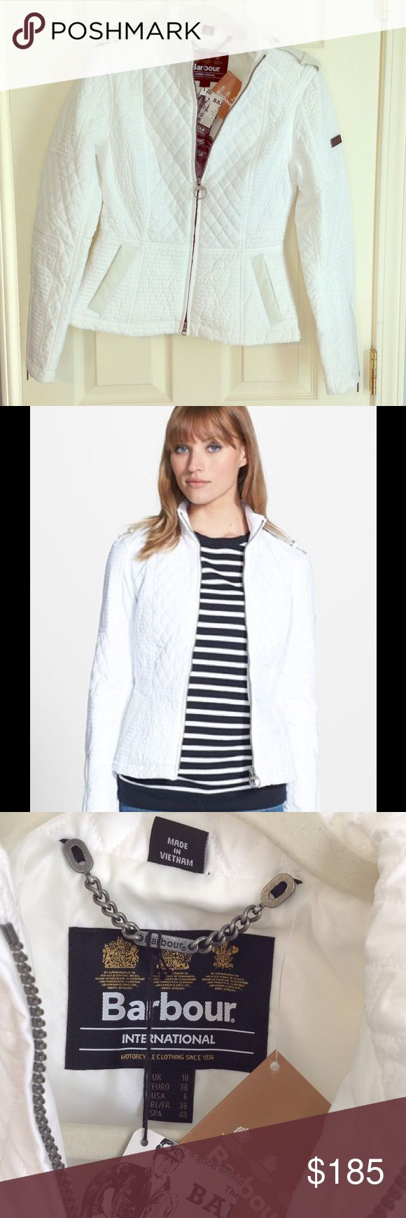 New Barbour Intl Extractor Quilted Jacket Brand new with tags and never worn white Barbour International Jacket in USA Size 6. Sold Out! Barbour Jackets & Coats