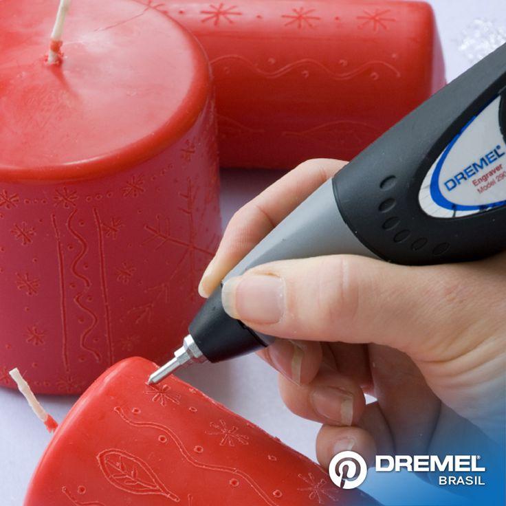 3° Passo: Provar as diferentes velocidades do Dremel Gravador para encontrar a indicada para cada tipo de vela que estiver utilizando.