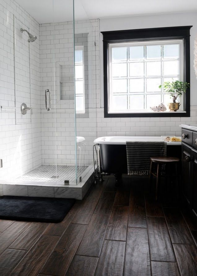 COTTAGE AND VINE Speaking of Wood Tile... http://creativehomebody.com/final-master-bathroom-pics/