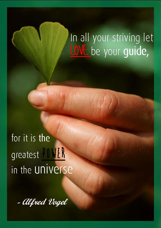 """""""In all of your striving let love be your guide, for it is the greatest power in the universe."""" ~A.Vogel"""