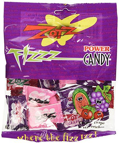 Great Zotz Assorted Hard Candy With Fizzy Powder Inside - Cherry, Grape, And Watermelon - 2.8 oz Retail Pack, ,