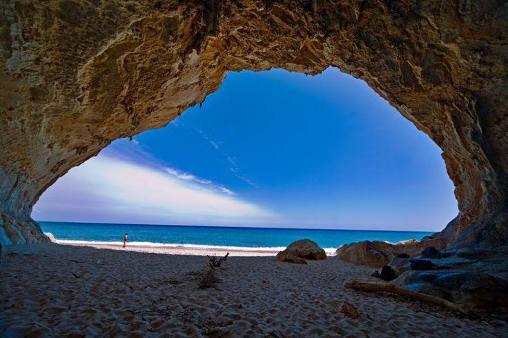 Beautiful beach cave on the Italian Island Sardegna