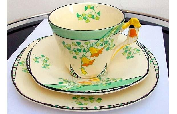 Art Deco china tea set – teacup, saucer and cake plate. Made and hand painted by Burleigh potters in the 1930s.