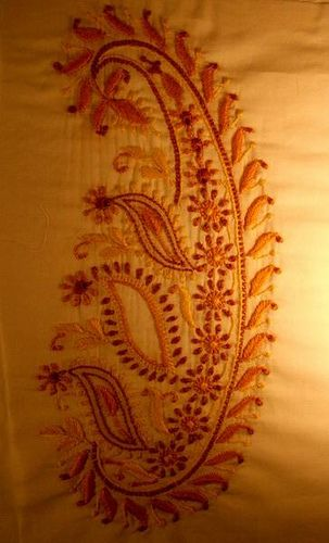 Hand embroidered 18th century paisley