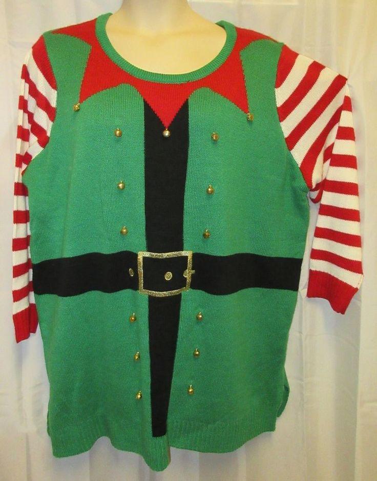 Christmas Holiday Sweater 3x Elf Jingle Bells Plus Sz 22 24 W Green Cute Ugly  #HolidayTime #Cardigan #Christmas