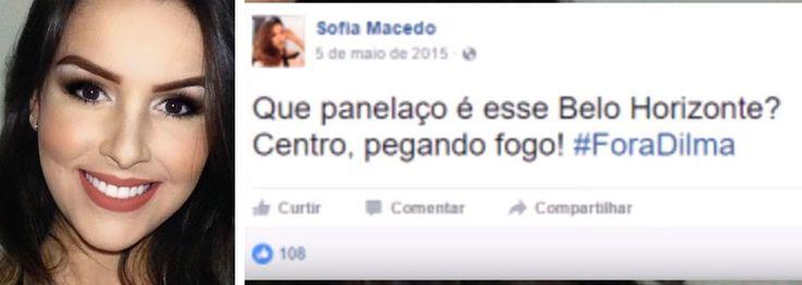 """Suspeita pela Polícia Federal de contratar uma quadrilha especializada em fraudes no Exame Nacional do Ensino Médio (ENEM) 2016 e em outros concursos realizados no País, a estudante Sofia Azevedo Macedo, moradora do Vale do Jequitinhonha, se manifestou contra a corrupção no Brasil, pedindo """"Fora, Dilma""""; com ponto eletrônico, ela respondia com tosses às perguntas do membro da quadrilha que tentava fraudar o Enem pediu Fora Dilma e votou no Aecio Neves"""