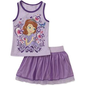 Disney Sofia the First Princess Baby Toddler Girl 2-Piece Racerback Tank and Tulle Scooter Set