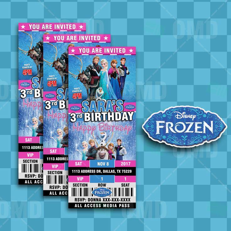 Frozen Ticket Style Birthday Cartoon Invites