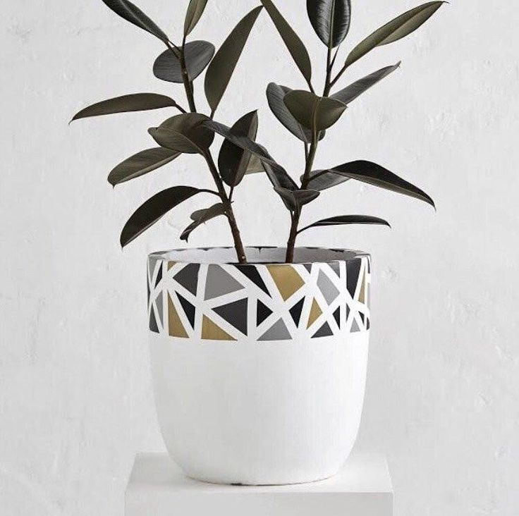 DESIGN TWINS TERRAZZO RIM POT in pink and bronze for inside $140