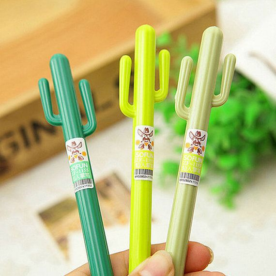 Cactus Gel Pens / Kawaii Pens / Planner Pens / by SprixieCharms