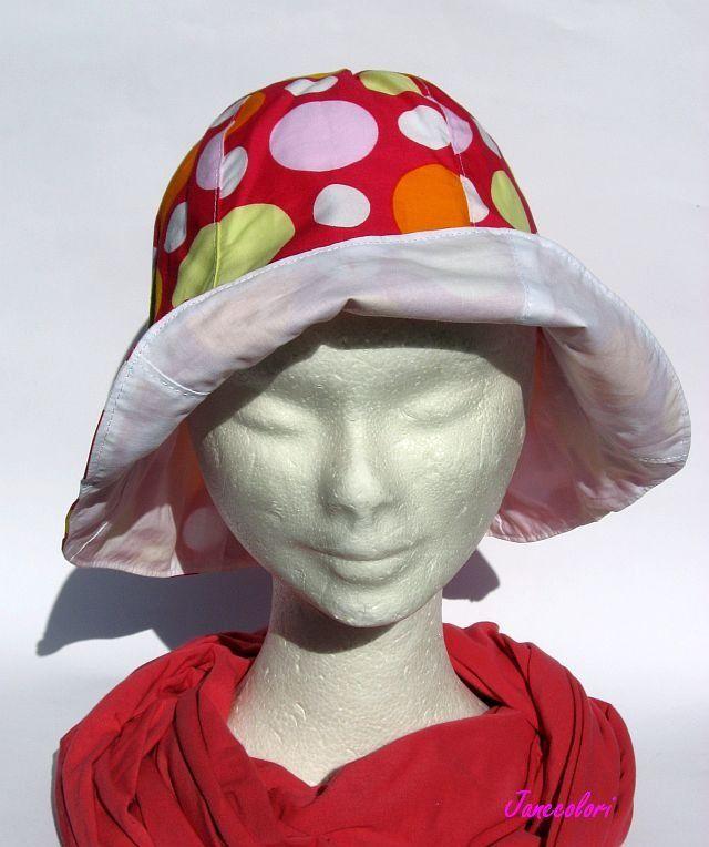 cappello estivo da sole, fantasia a pois, a campana, reversibile, chapeaux soleil : Cappelli, berretti di janecolori-accessoires
